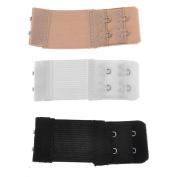"3pcs Women""s Elastic Bra Lingerie Extenders 2-Hooks 2 Rows Extension Straps in Different Colours"