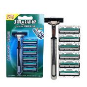 Razor Blades , Aoohe 6 pcs Replacement Manual Razor Blades+ 1 Razor Handle Men's Shaving Razor Blades Standard