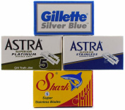 20 Double Edge Razor Blade Sampler - Gillette, Astra, Shark & Rating Sheet - Set
