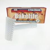 Phoenix Bakelite Open Comb Slant Safety Razor - White