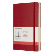 Moleskine 12 Month Daily Planner, Large, Scarlet Red, Hard Cover