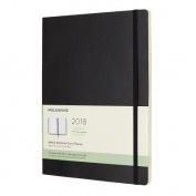 Moleskine 12 Month Weekly Planner, Extra Large, Black, Soft Cover