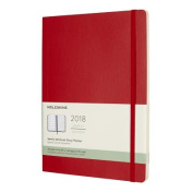 Moleskine 12 Month Weekly Planner, Extra Large, Scarlet Red, Soft Cover