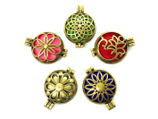 HaXiu 5pcs/lot Mix Style Vintage Bronze Alloy Locket Essential Oil Aromatherapy Diffuser Pendant Charms Necklace
