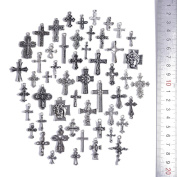 50Pcs Antique Silver Cross Charms for DIY Necklace Pendant Making