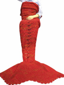 FEESHOW Handcrafted Crochet Knitting Wool Mermaid Tail Sofa Cocoon Blanket for Adult Children Kids Adult Red Yellow One size
