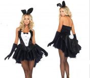 Stuffwholesale Women Girl Cosplay Costume Dress Bunny Tux Tail with Ear Headband