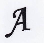 """MONOGRAM LETTERS - 3.2cm BLACK LETTER """"A"""" - Iron On Embroidered Applique"""