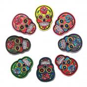 8 pcs Novelty Iron on Skull Candy Embroidered Patch / Badge Motorcycle Biker