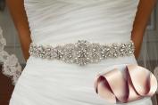 QueenDream Wedding Bridal Belt, Braided Rhinestone Sash Champange