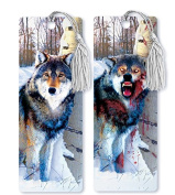 Dimension 9 3D Lenticular Bookmark with Tassel, Evil Zombie Wolf in Snowy Forest