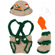 Jastore Baby Newborn Photography Prop Crochet Fisherman Costume Hat Nappy Shoes