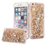 iPhone 7 Plus Case, iPhone 7 Plus Liquid Glitter Case,PHEZEN Creative Design Flowing Liquid Floating Luxury Bling Glitter Sparkle Hard Case for 5.5 Plus inch iPhone 7 Plus - Gold Diamonds