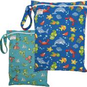 2 Waterproof Zipper Wet/Dry Bags., Snap Handle