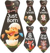 """NEW! Original Stick'Nsnap (TM) 16 Baby Monthly Necktie Onesie Stickers - """"Happy Forest Animals"""" (TM). Milestones for 12 Months +4 bonus Milestones - Best Baby Shower Gifts!"""