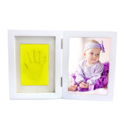 Clay Baby Handprint & Footprint Desktop Picture Frame, Newborn Baby First Handprint Footprint Clean Touch Safe Clay, Unique Gift Idea And Keepsake for Registry By Colourful Life Yellow