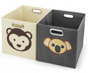 Avinee Foldable Fabric Storage Cube Basket Bins Boxes Closet Organiser With Built-in Chrome Handles