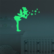 Marsway Funny Gril Stars Luminous Sticker Glow in the Dark Sticker Kids Room Wall Decal