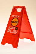 "Kids Playing Safety Floor Sign for Yards and Driveways (Double-Sided, Red) - ""Caution, Slow, Kids at Play"""