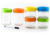 Glass Baby Food Storage Containers - Set contains Small Reusable 120ml and 240ml Jars with Airtight Lids - Safely Freeze your Homemade Baby Food