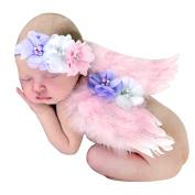 Feililong Baby Toddler Feather Angel Wings Rhinestone Headband Set Baby Chiffon Flower Headband Hair Hairband Flower Newborn Photo Prop Costume
