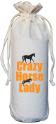 Crazy Horse Lady - Natural Cotton Drawstring Wine Bottle Bag