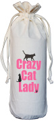 Crazy Cat Lady - Natural Cotton Drawstring Wine Bottle Bag