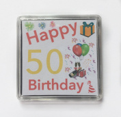 Happy 50th Birthday Gift - Lucky Sixpence Keepsake