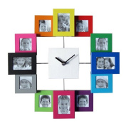 Creative mute clock 12 Colourful metal frame wall clock combination