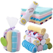 HENGSONG Pack of 8 Soft Cotton Baby Face Washers Hand Towels Washing Bath Shower Wipe Nursing Towel