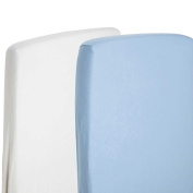 2x Fitted Sheets Compatible With Chicco Next 2 Me 100% Cotton- White / Blue-By For-Your-Little-One