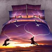Elenxs 3D Lovers & Heart 4pcs/set Duvet Cover Sets Romantic Bedding Sets 200*230cm
