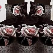 Elenxs 4pcs/set Romantic 3D Rose Black Flowers Duvet Cover Sets Bedding Sets