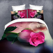 QHGstore Heart Rose Floral Duvet Cover Queen Luxury Wedding Romantic Print Bedding Sets