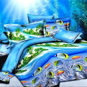QHGstore Sea Life and Under the Water Creatures Tropical Fish 4pcs/set OF Bedding Sets