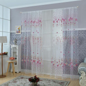 Sunflower Printed Voile Sheer Sitting Living Room Decorative Window Door Curtain-Purple