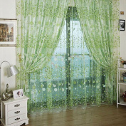 Voile Curtain Room Rustic Garden Style Flower Sheer Curtain Home Decoration-Green