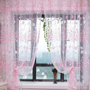 Voile Curtain Room Rustic Garden Style Flower Sheer Curtain Home Decoration