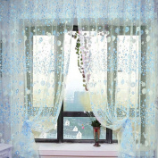 Voile Curtain Room Rustic Garden Style Flower Sheer Curtain Home Decoration-Sky Blue