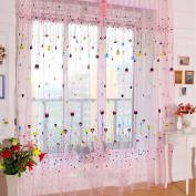 Romantic Peach Heart Balloon Print Sheer Curtain Panel Window Balcony Tulle-Pink