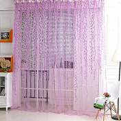 Wicker Curtain Yarn Finished Product For Living Room Tulle Curtain Window Decor-Purple