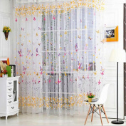 Butterfly Printed Tulle Voile Door Window Balcony Sheer Panel Screen Curtains-Rose Pink