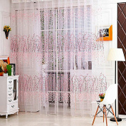 Wintersweet Flower Floral Printed Tulle Voile Window Balcony Sheer Panel Screen-Pink