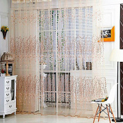 Wintersweet Flower Floral Printed Tulle Voile Window Balcony Sheer Panel Screen-Beige