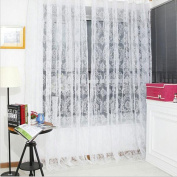 Vintage Flocked Floral Voile Door Window Balcony Sheer Panel Screen Curtains-White