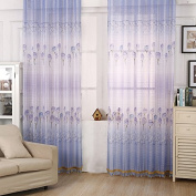Miaoben Floral Curtain with Blue Rose Printed Tab Top Windows Curtains Panel Drape