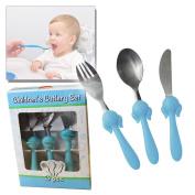BLUE BABY CUTLERY FEEDING SET BOY GIRL SPOON FORK INFANT KIDS CHILDREN SAFE