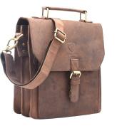J WILSON London - Designer 100% Pure Genuine Real Vintage Hunter Leather Handmade Unisex Crossover Shoulder Messenger Briefcase Bag
