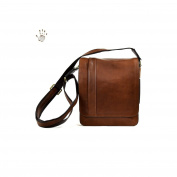 Made In Italy Vegetable Tanned Leather Crossbody Man Bag With Compartments Colour Brown Tuscan Leather - Prestige Line