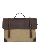 FAIRY COUPLE Washed Canvas Leather Briefcase Handbag C5675